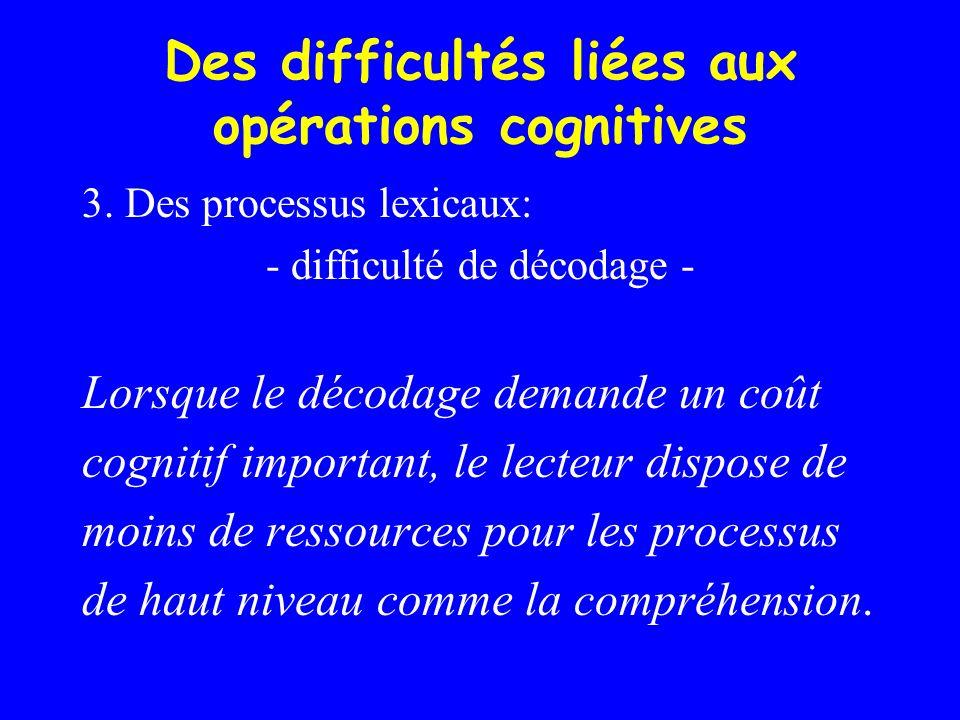 Des difficultés liées aux opérations cognitives 3. Des processus lexicaux: - difficulté de décodage - Lorsque le décodage demande un coût cognitif imp