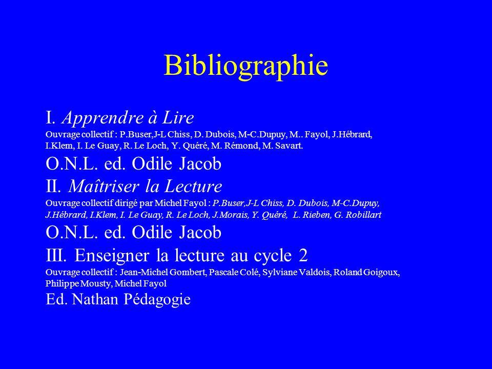 Bibliographie I. Apprendre à Lire Ouvrage collectif : P.Buser,J-L Chiss, D. Dubois, M-C.Dupuy, M.. Fayol, J.Hébrard, I.Klem, I. Le Guay, R. Le Loch, Y