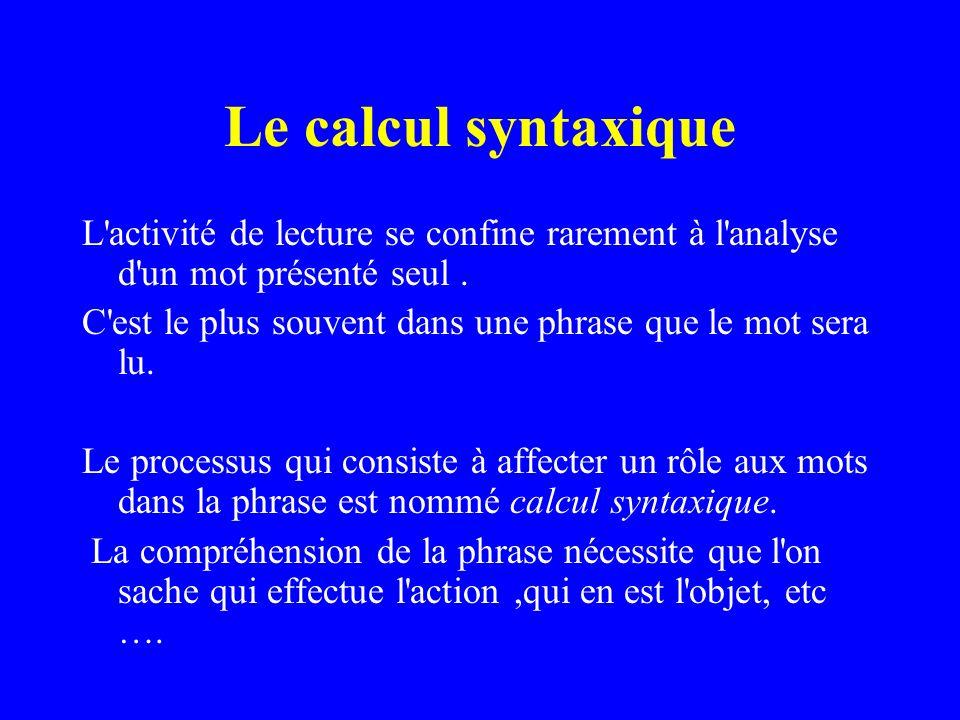 Le calcul syntaxique L'activité de lecture se confine rarement à l'analyse d'un mot présenté seul. C'est le plus souvent dans une phrase que le mot se