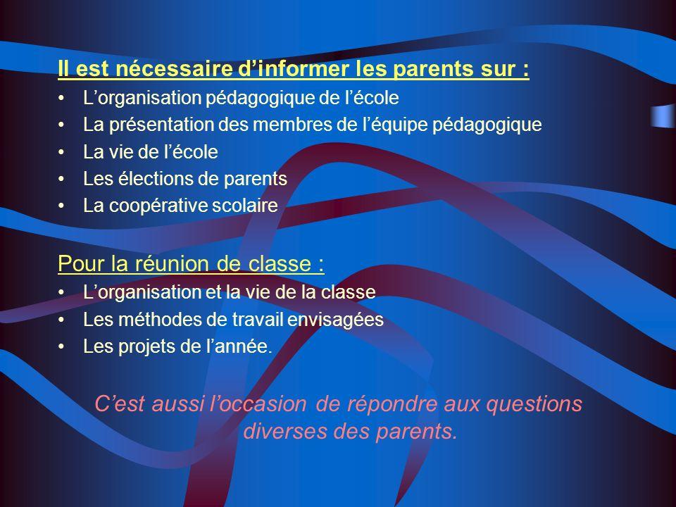 Réunion dinformation des parents délèves à la rentrée 2 solutions envisageables : La réunion décole en présence de léquipe pédagogique La réunion par