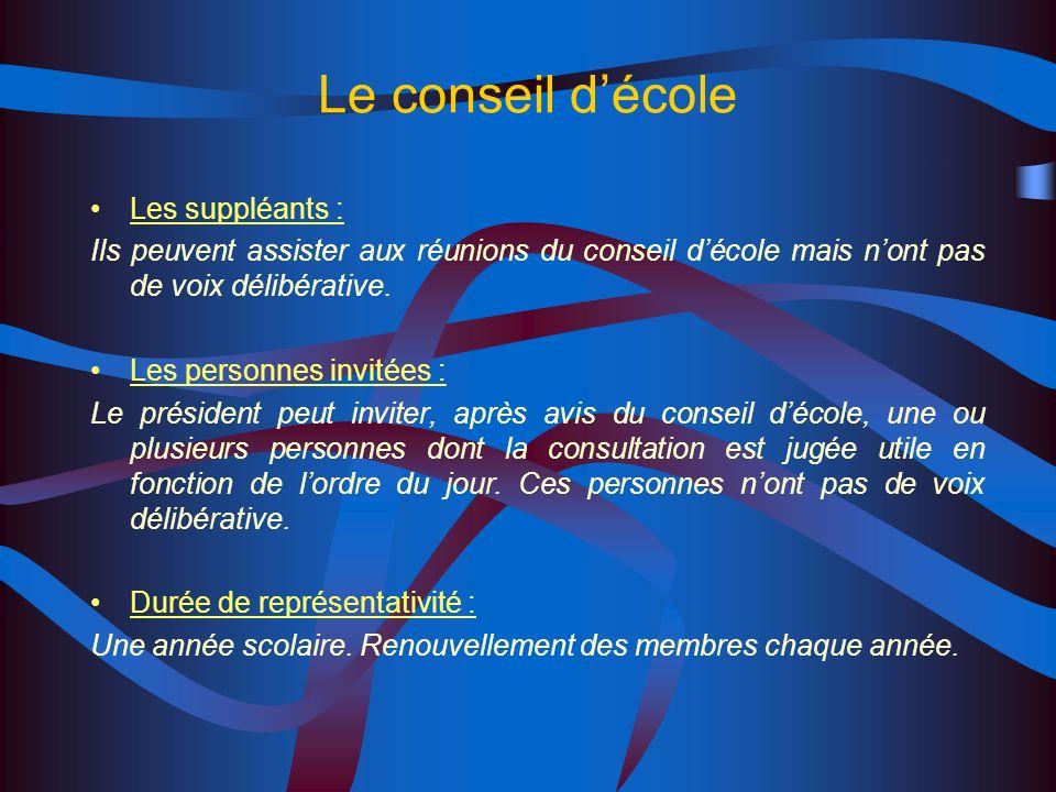 Le conseil décole Composition : Le directeur décole, président Le maire ou son représentant Les maîtres de lécole ( y compris les remplaçants exerçant