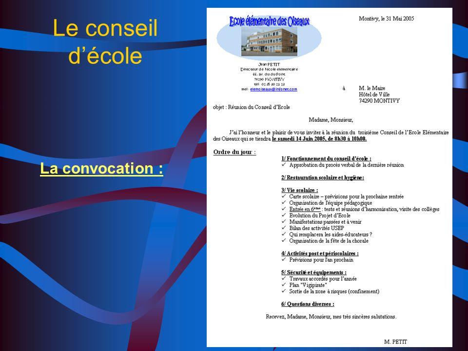 Le conseil décole Le conseil décole est constitué pour une année. Il se réunit au moins une fois par trimestre et obligatoirement dans les quinze jour
