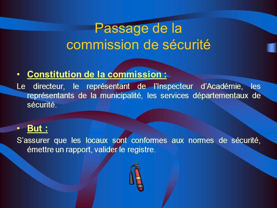 Passage de la commission de sécurité Constitution de la commission : Le directeur, le représentant de lInspecteur dAcadémie, les représentants de la municipalité, les services départementaux de sécurité.