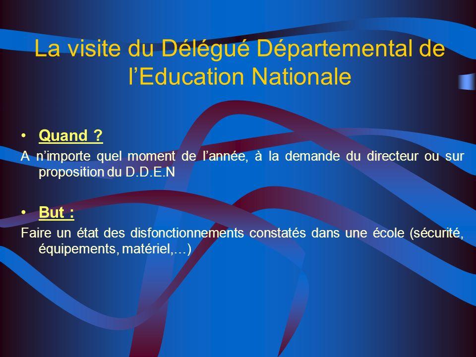 La visite du Délégué Départemental de lEducation Nationale Quand .