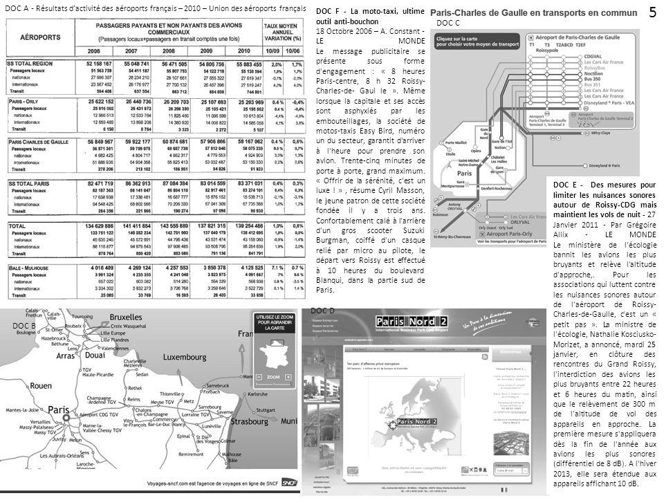 DOC C DOC D DOC B DOC A - Résultats dactivité des aéroports français – 2010 – Union des aéroports français DOC F - La moto-taxi, ultime outil anti-bou