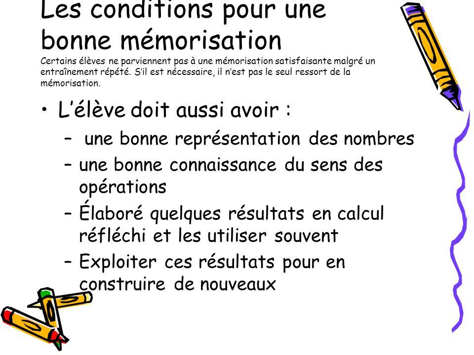 Les conditions pour une bonne mémorisation Certains élèves ne parviennent pas à une mémorisation satisfaisante malgré un entraînement répété. Sil est