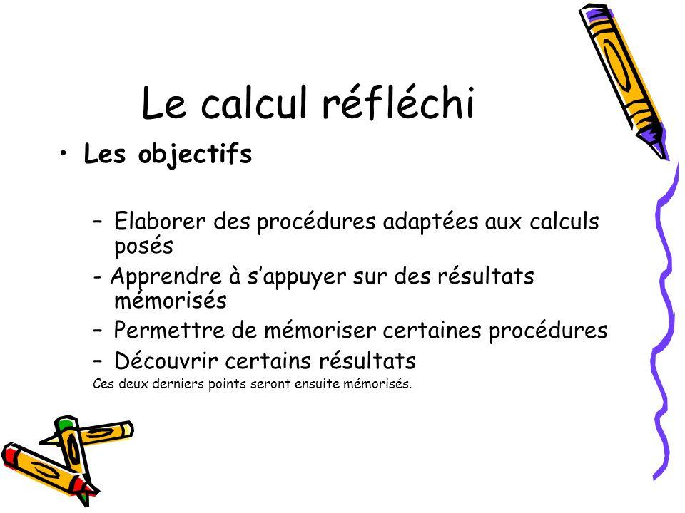 Le calcul réfléchi Les objectifs –Elaborer des procédures adaptées aux calculs posés - Apprendre à sappuyer sur des résultats mémorisés –Permettre de