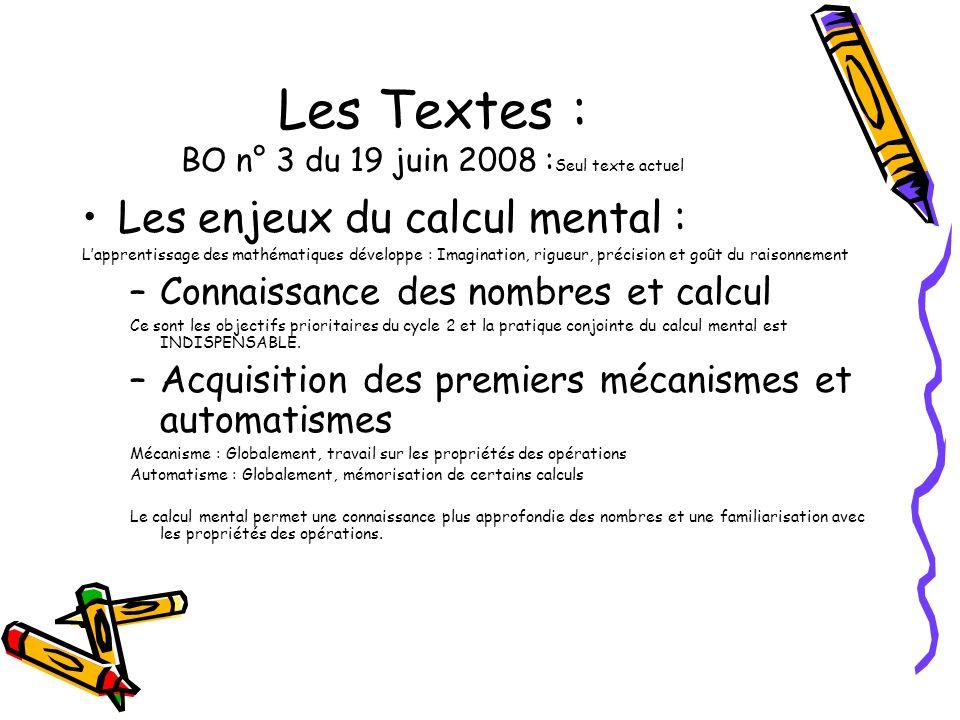 Les Textes : BO n° 3 du 19 juin 2008 : Seul texte actuel Les enjeux du calcul mental : Lapprentissage des mathématiques développe : Imagination, rigue