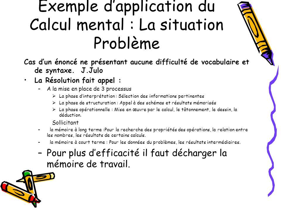 Exemple dapplication du Calcul mental : La situation Problème Cas dun énoncé ne présentant aucune difficulté de vocabulaire et de syntaxe. J.Julo La R