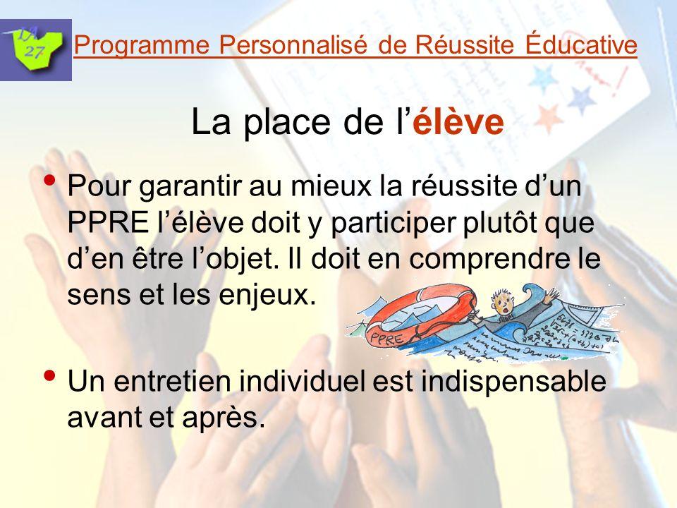 Programme Personnalisé de Réussite Éducative La place de lélève Pour garantir au mieux la réussite dun PPRE lélève doit y participer plutôt que den être lobjet.