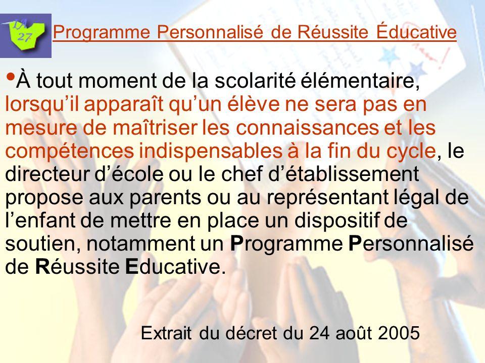 Programme Personnalisé de Réussite Éducative Un PPRE, cest : une modalité de prévention de la grande difficulté scolaire ou un accompagnement du redoublement lorsquil na pu être évité.