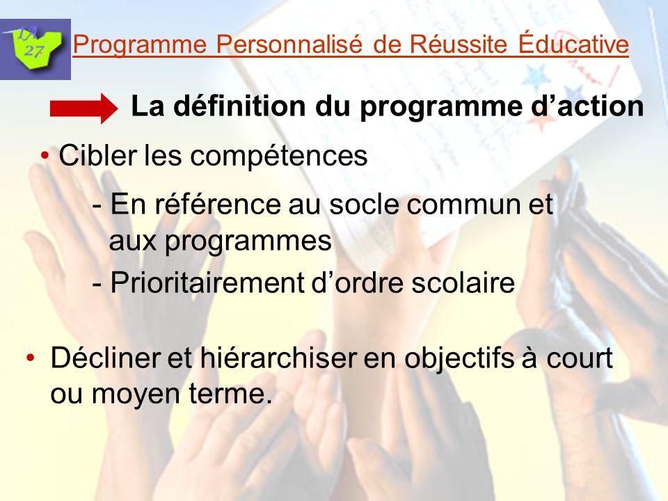 Programme Personnalisé de Réussite Éducative La mise en œuvre Dans la classe, par lenseignant ou en co- intervention.