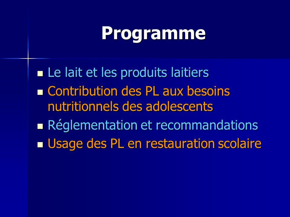 Programme Le lait et les produits laitiers Le lait et les produits laitiers Contribution des PL aux besoins nutritionnels des adolescents Contribution