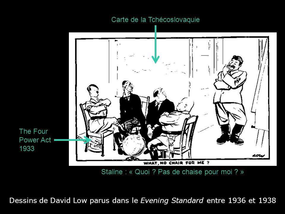 Dessins de David Low parus dans le Evening Standard entre 1936 et 1938 Staline : « Quoi ? Pas de chaise pour moi ? » The Four Power Act 1933 Carte de