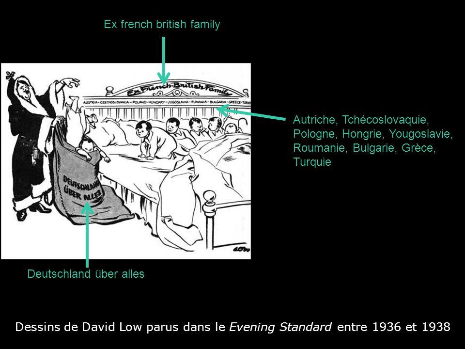 Dessins de David Low parus dans le Evening Standard entre 1936 et 1938 Deutschland über alles Ex french british family Autriche, Tchécoslovaquie, Polo