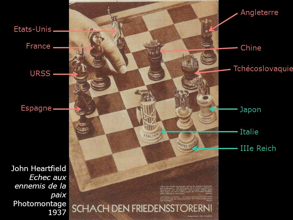 Angleterre Chine Tchécoslovaquie Etats-Unis France URSS Japon Italie IIIe Reich Espagne John Heartfield Echec aux ennemis de la paix Photomontage 1937