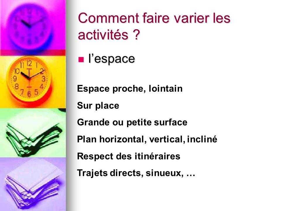 Comment faire varier les activités .