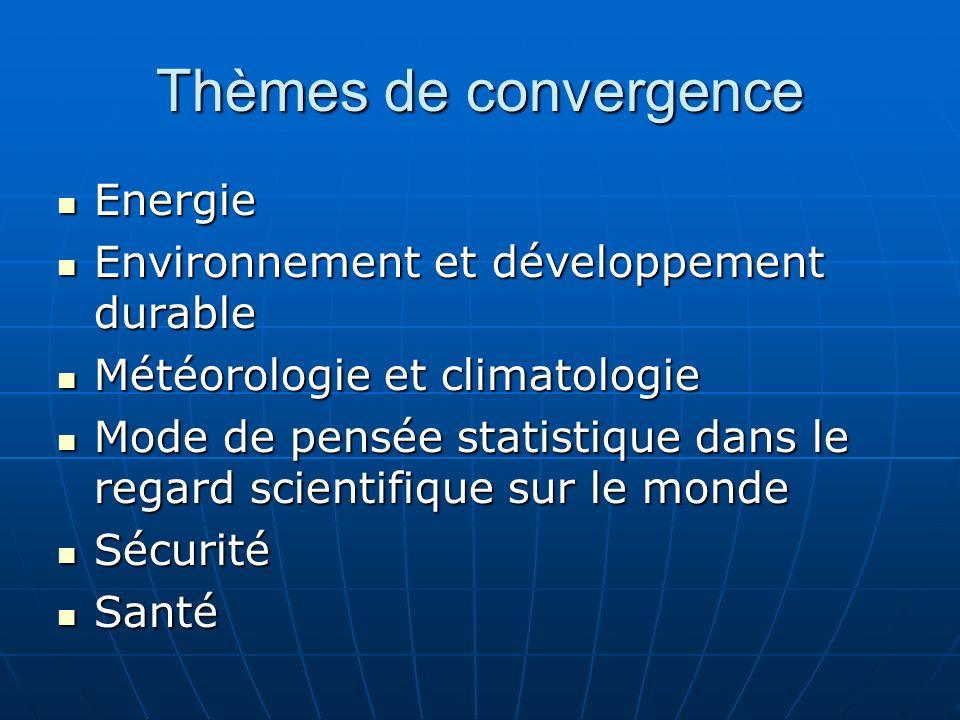 Thèmes de convergence Energie Energie Environnement et développement durable Environnement et développement durable Météorologie et climatologie Météorologie et climatologie Mode de pensée statistique dans le regard scientifique sur le monde Mode de pensée statistique dans le regard scientifique sur le monde Sécurité Sécurité Santé Santé