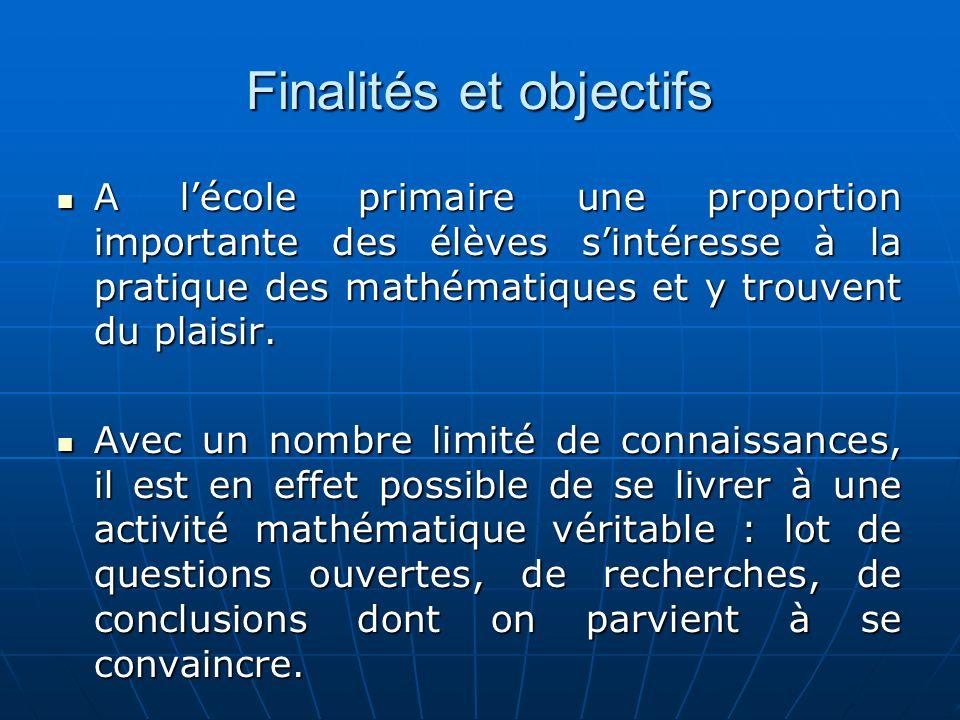 Finalités et objectifs A lécole primaire une proportion importante des élèves sintéresse à la pratique des mathématiques et y trouvent du plaisir.
