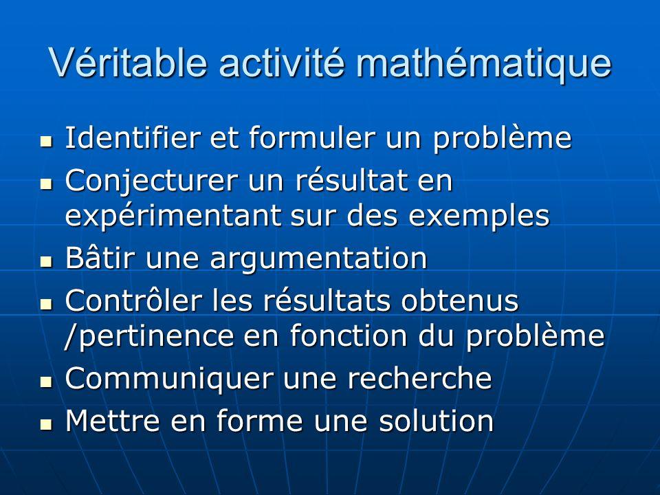 Véritable activité mathématique Identifier et formuler un problème Identifier et formuler un problème Conjecturer un résultat en expérimentant sur des exemples Conjecturer un résultat en expérimentant sur des exemples Bâtir une argumentation Bâtir une argumentation Contrôler les résultats obtenus /pertinence en fonction du problème Contrôler les résultats obtenus /pertinence en fonction du problème Communiquer une recherche Communiquer une recherche Mettre en forme une solution Mettre en forme une solution