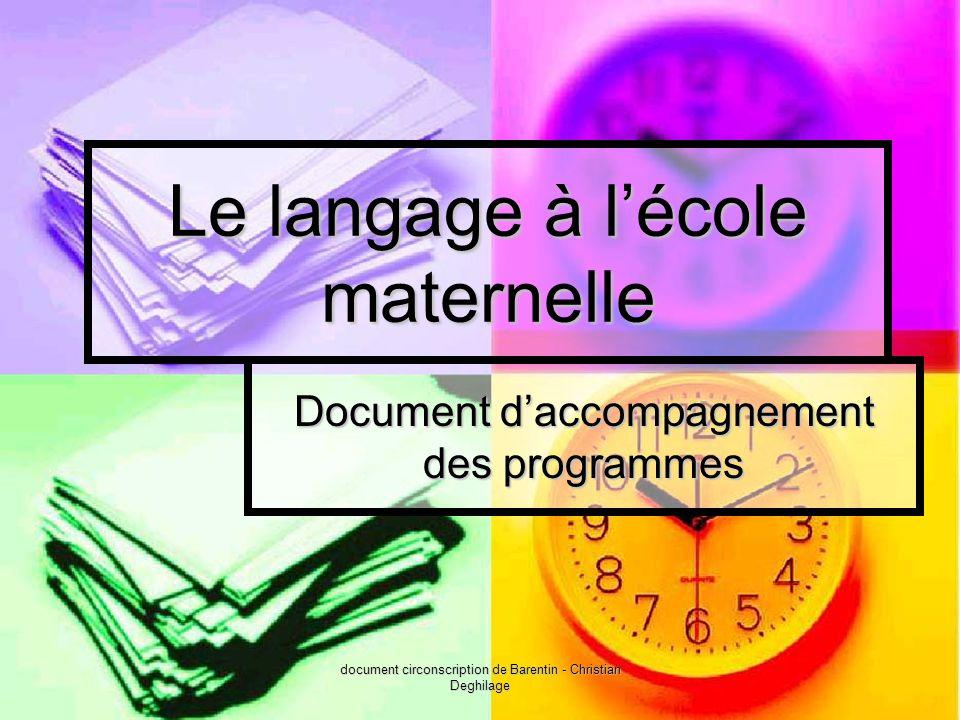 document circonscription de Barentin - Christian Deghilage Le langage à lécole maternelle Document daccompagnement des programmes