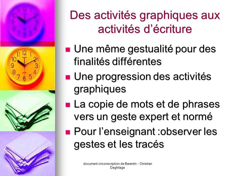 document circonscription de Barentin - Christian Deghilage Des activités graphiques aux activités décriture Une même gestualité pour des finalités dif