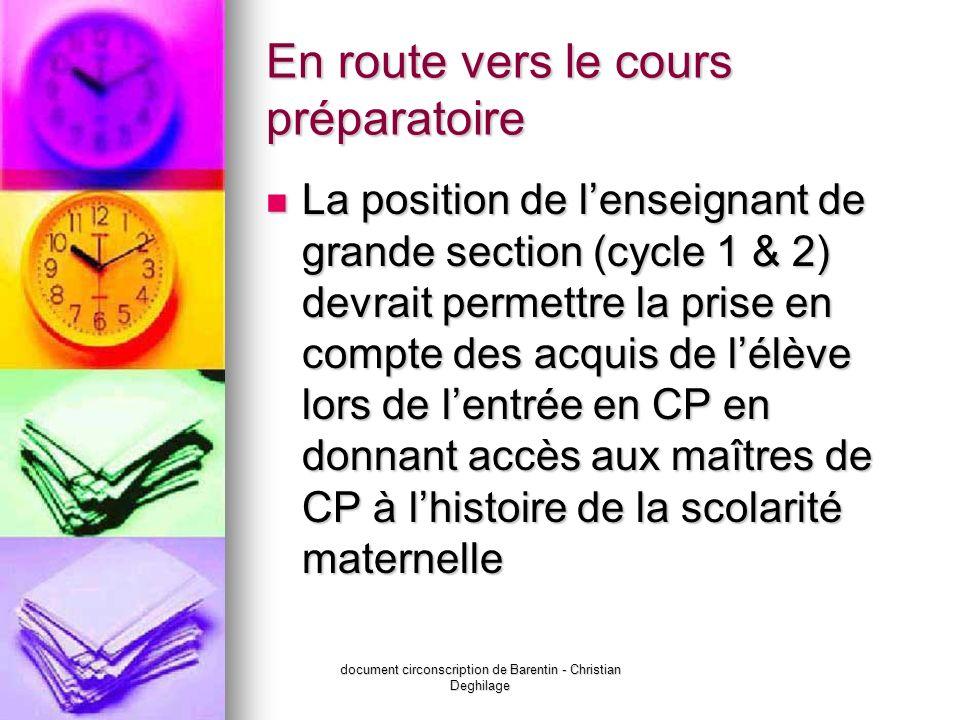 document circonscription de Barentin - Christian Deghilage En route vers le cours préparatoire La position de lenseignant de grande section (cycle 1 &