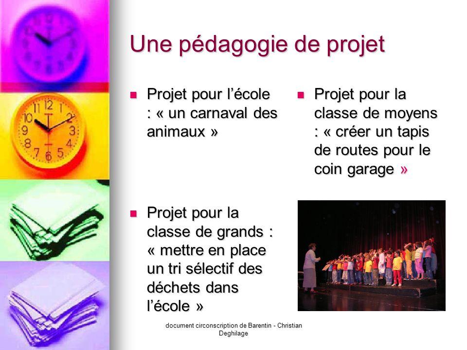 document circonscription de Barentin - Christian Deghilage Une pédagogie de projet Projet pour lécole : « un carnaval des animaux » Projet pour lécole