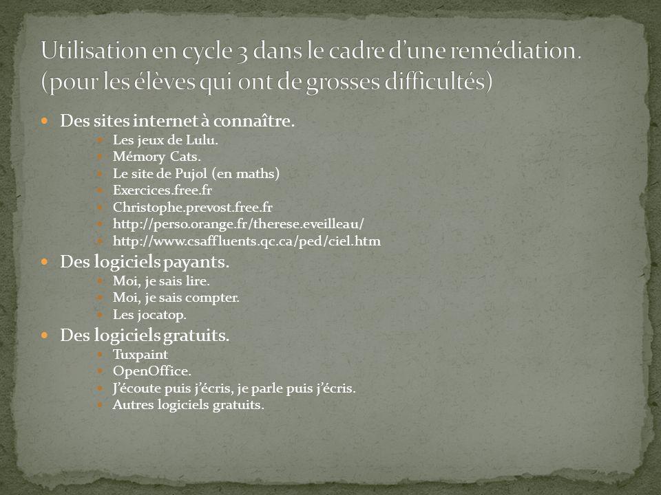 Des sites internet à connaître. Les jeux de Lulu. Mémory Cats. Le site de Pujol (en maths) Exercices.free.fr Christophe.prevost.free.fr http://perso.o