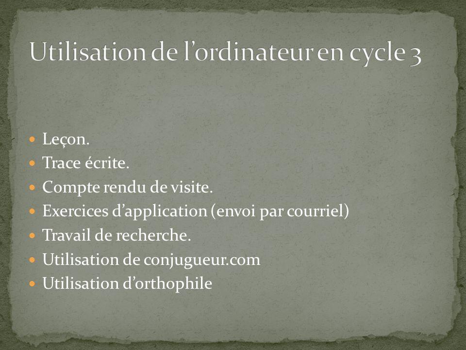 Leçon. Trace écrite. Compte rendu de visite. Exercices dapplication (envoi par courriel) Travail de recherche. Utilisation de conjugueur.com Utilisati