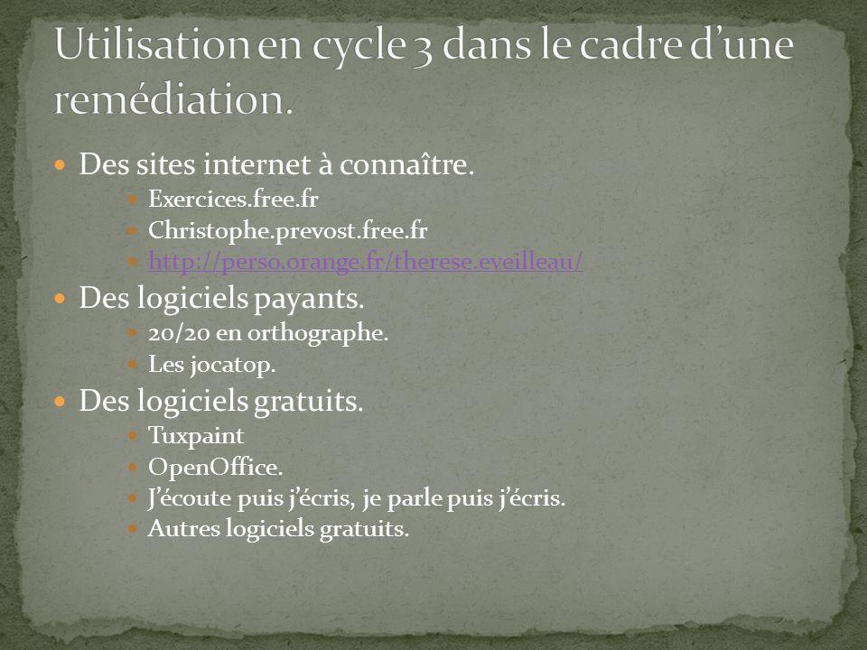 Des sites internet à connaître. Exercices.free.fr Christophe.prevost.free.fr http://perso.orange.fr/therese.eveilleau/ Des logiciels payants. 20/20 en