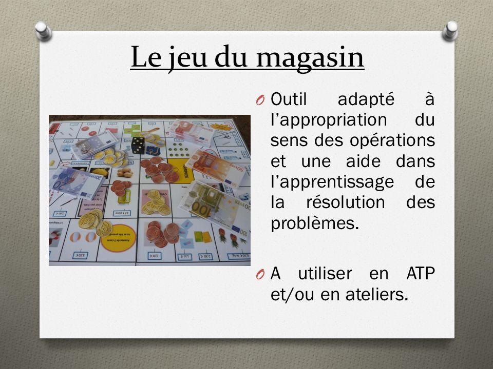 Le jeu du magasin O Outil adapté à lappropriation du sens des opérations et une aide dans lapprentissage de la résolution des problèmes. O A utiliser