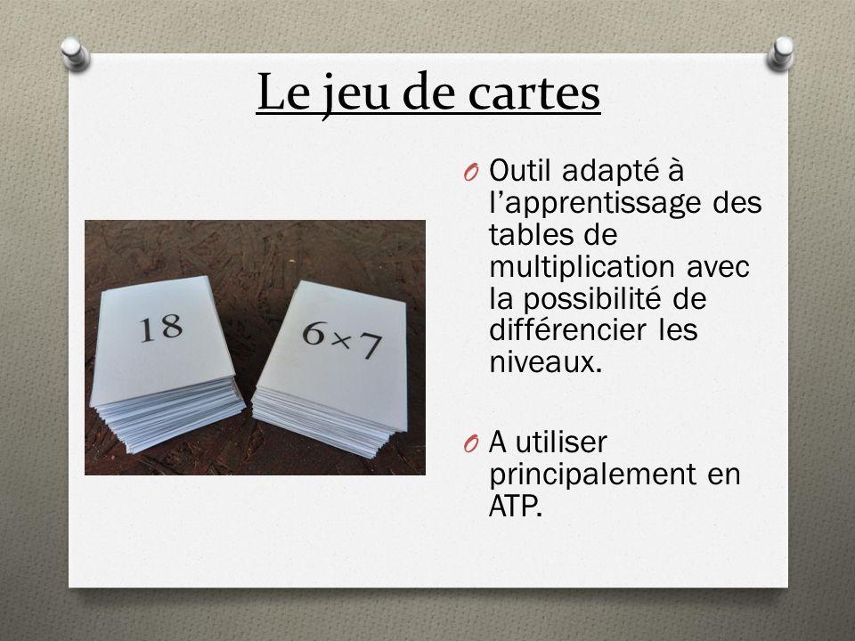 Le jeu de cartes O Outil adapté à lapprentissage des tables de multiplication avec la possibilité de différencier les niveaux. O A utiliser principale