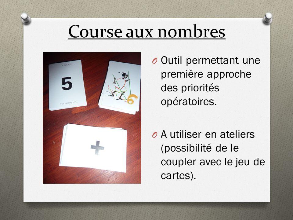 Course aux nombres O Outil permettant une première approche des priorités opératoires. O A utiliser en ateliers (possibilité de le coupler avec le jeu