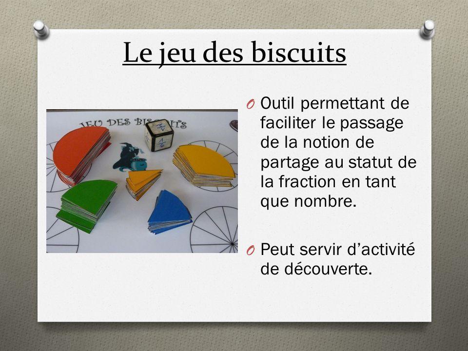 Le jeu des biscuits O Outil permettant de faciliter le passage de la notion de partage au statut de la fraction en tant que nombre. O Peut servir dact