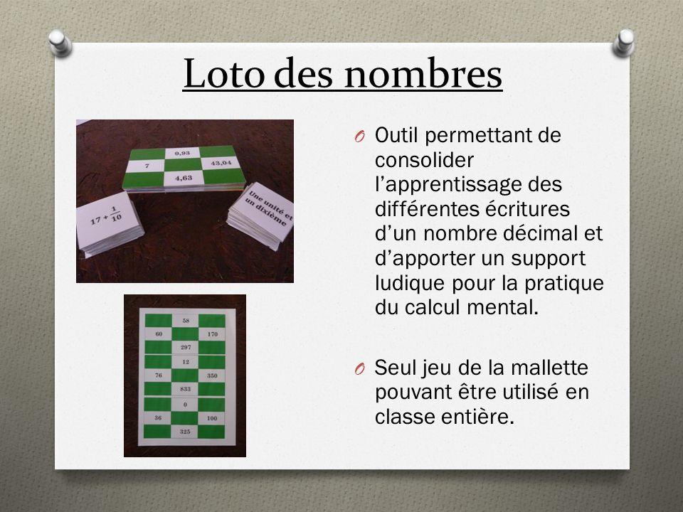 Puzzle O Autre outil permettant de consolider lapprentissage des différentes écritures dun nombre décimal.