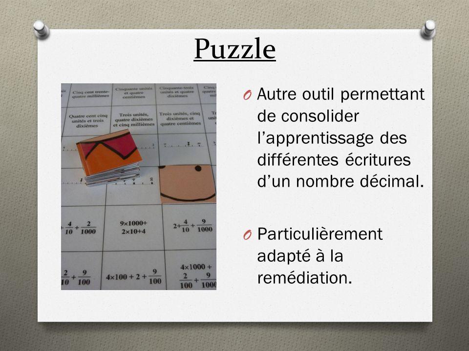 Puzzle O Autre outil permettant de consolider lapprentissage des différentes écritures dun nombre décimal. O Particulièrement adapté à la remédiation.