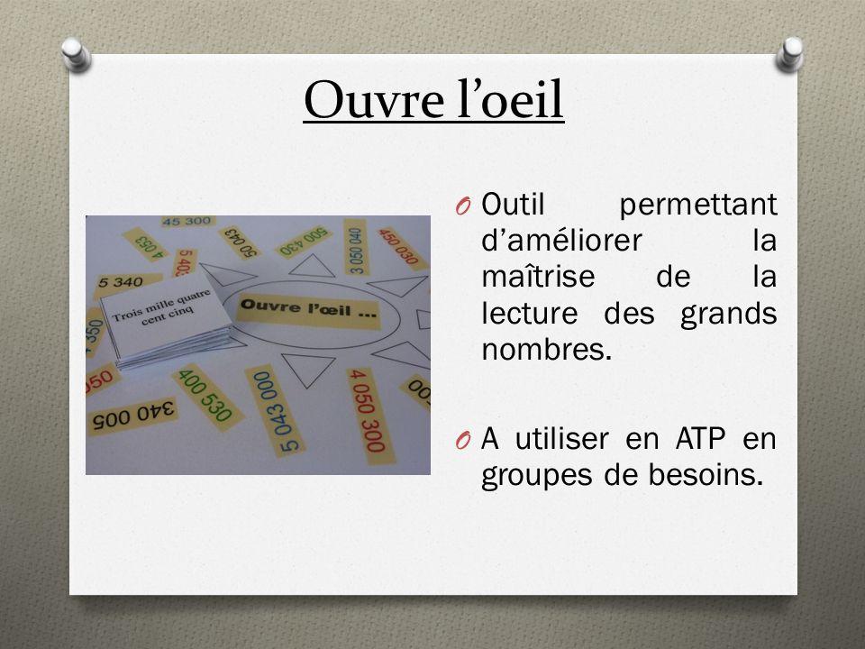 Ouvre loeil O Outil permettant daméliorer la maîtrise de la lecture des grands nombres. O A utiliser en ATP en groupes de besoins.