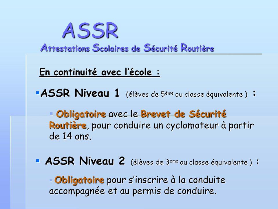 ASSR En continuité avec lécole : En continuité avec lécole : ASSR Niveau 1 (élèves de 5 ème ou classe équivalente ) : ASSR Niveau 1 (élèves de 5 ème o