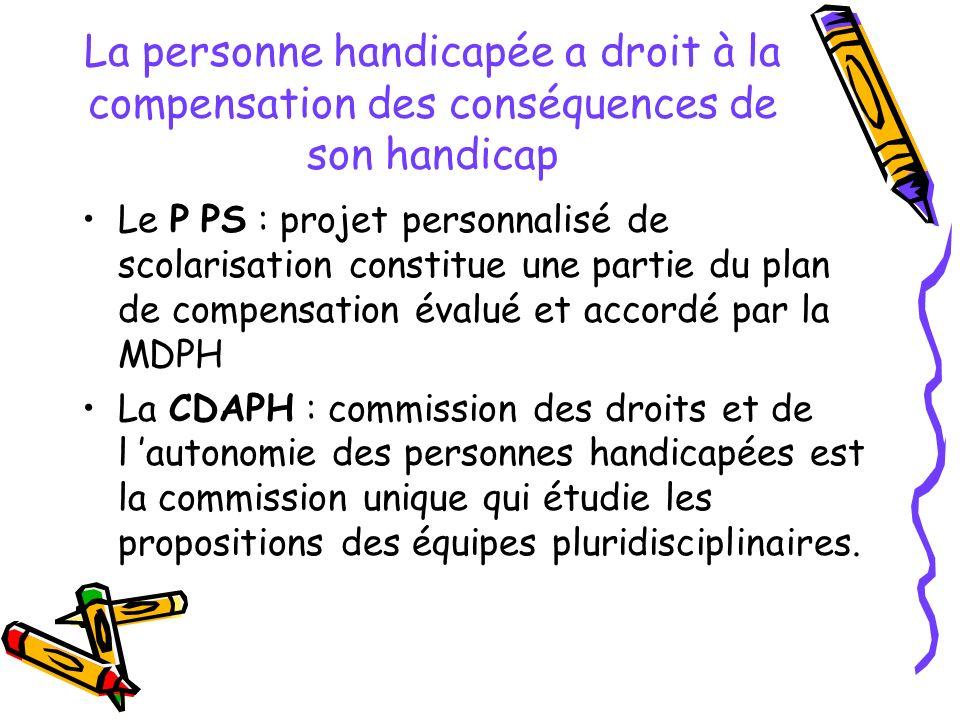 La personne handicapée a droit à la compensation des conséquences de son handicap Le P PS : projet personnalisé de scolarisation constitue une partie