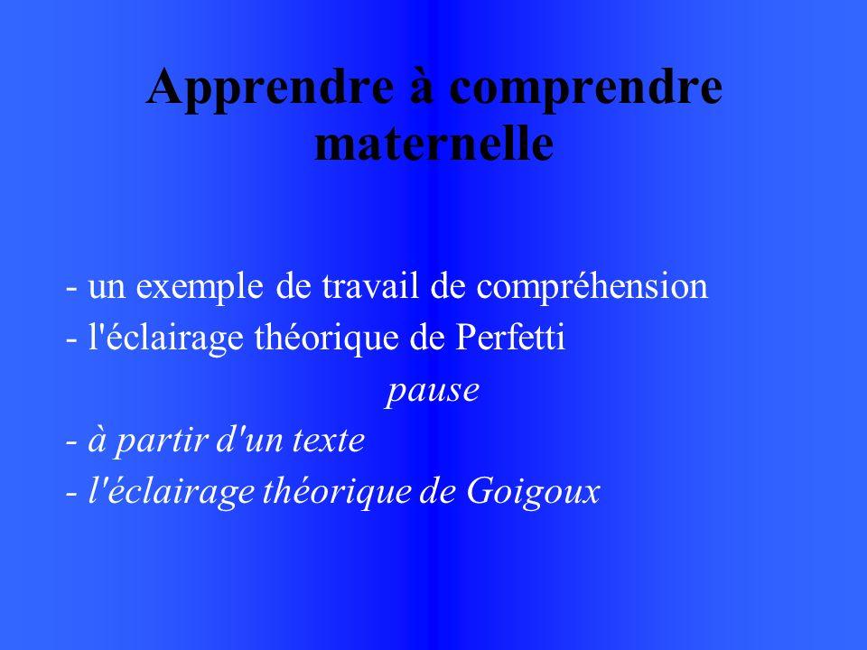 Apprendre à comprendre maternelle - un exemple de travail de compréhension - l éclairage théorique de Perfetti pause - à partir d un texte - l éclairage théorique de Goigoux