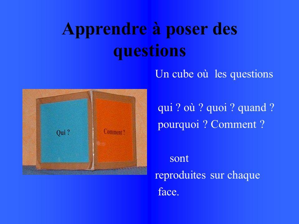 Apprendre à poser des questions Un cube où les questions qui .