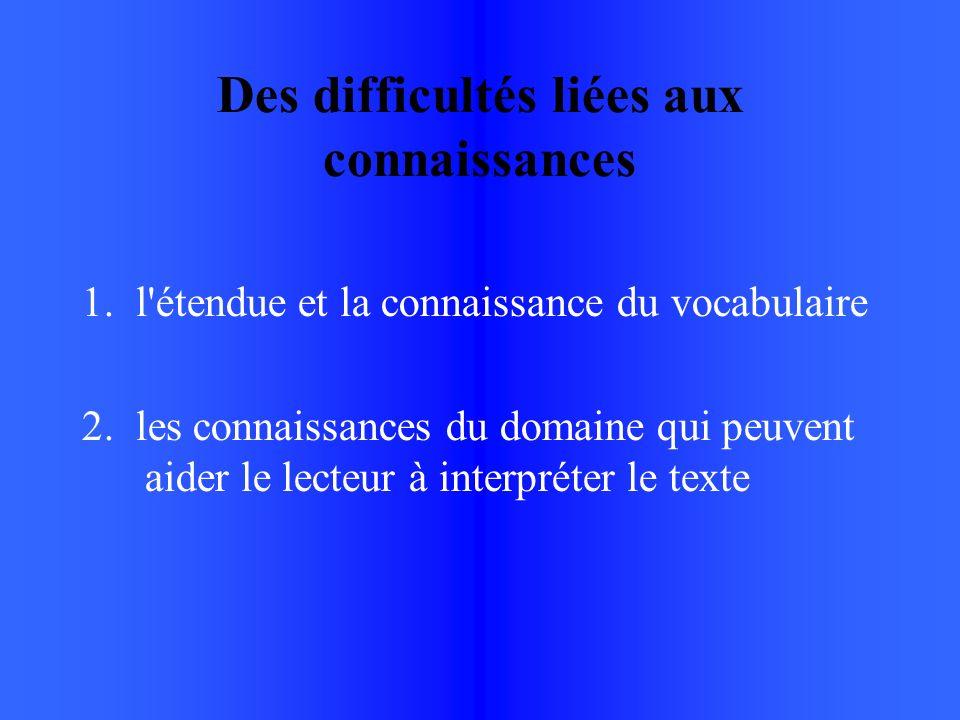 Des difficultés liées aux connaissances 1. l étendue et la connaissance du vocabulaire 2.