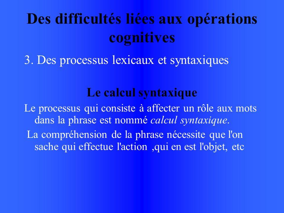 Des difficultés liées aux opérations cognitives 3.