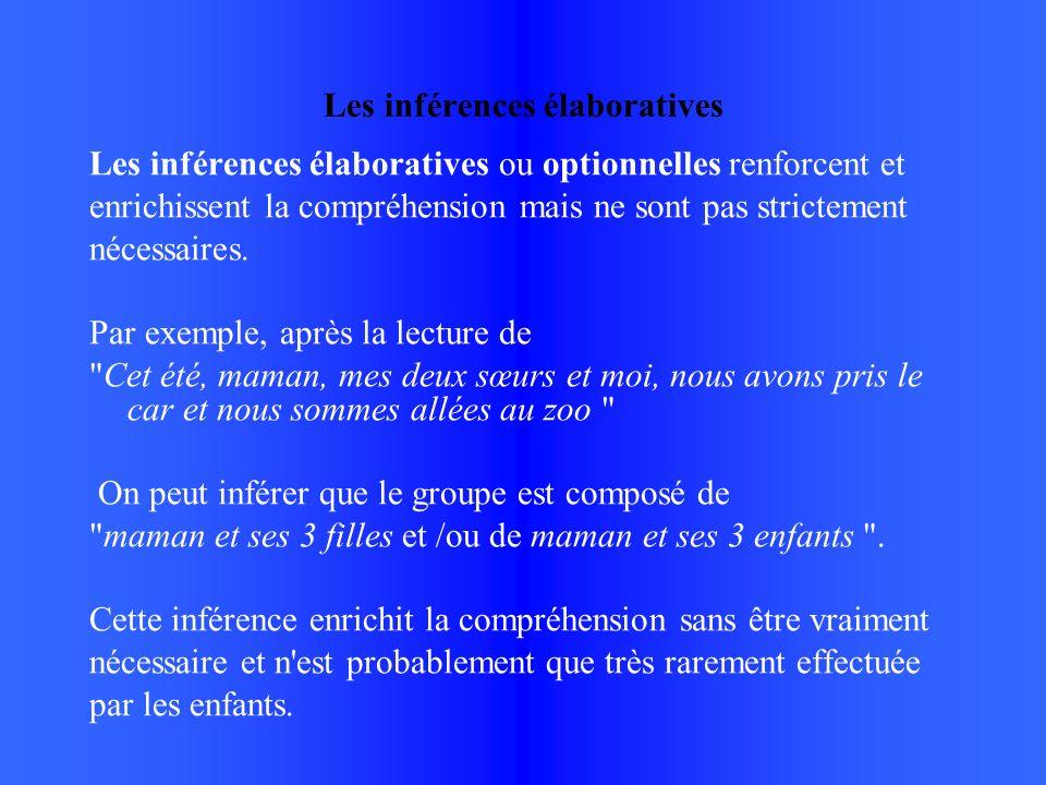 Les inférences élaboratives Les inférences élaboratives ou optionnelles renforcent et enrichissent la compréhension mais ne sont pas strictement nécessaires.