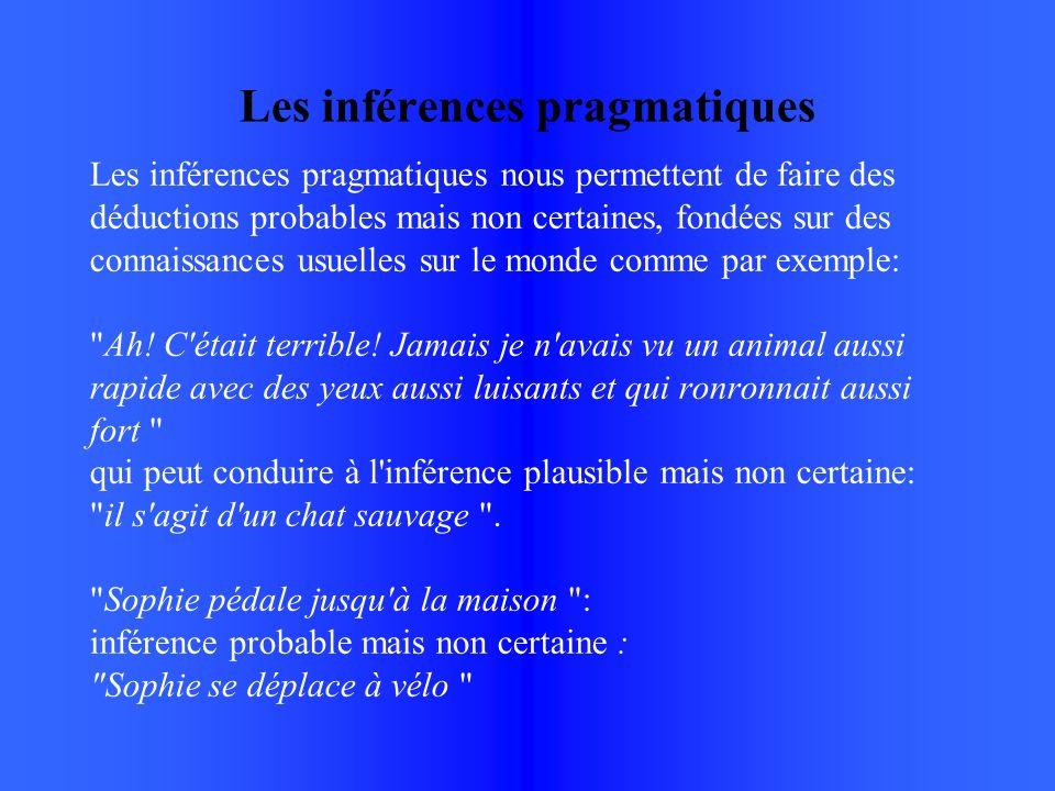 Les inférences pragmatiques Les inférences pragmatiques nous permettent de faire des déductions probables mais non certaines, fondées sur des connaissances usuelles sur le monde comme par exemple: Ah.