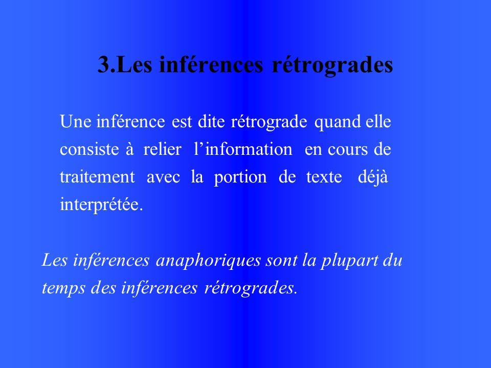 3.Les inférences rétrogrades Une inférence est dite rétrograde quand elle consiste à relier linformation en cours de traitement avec la portion de texte déjà interprétée.