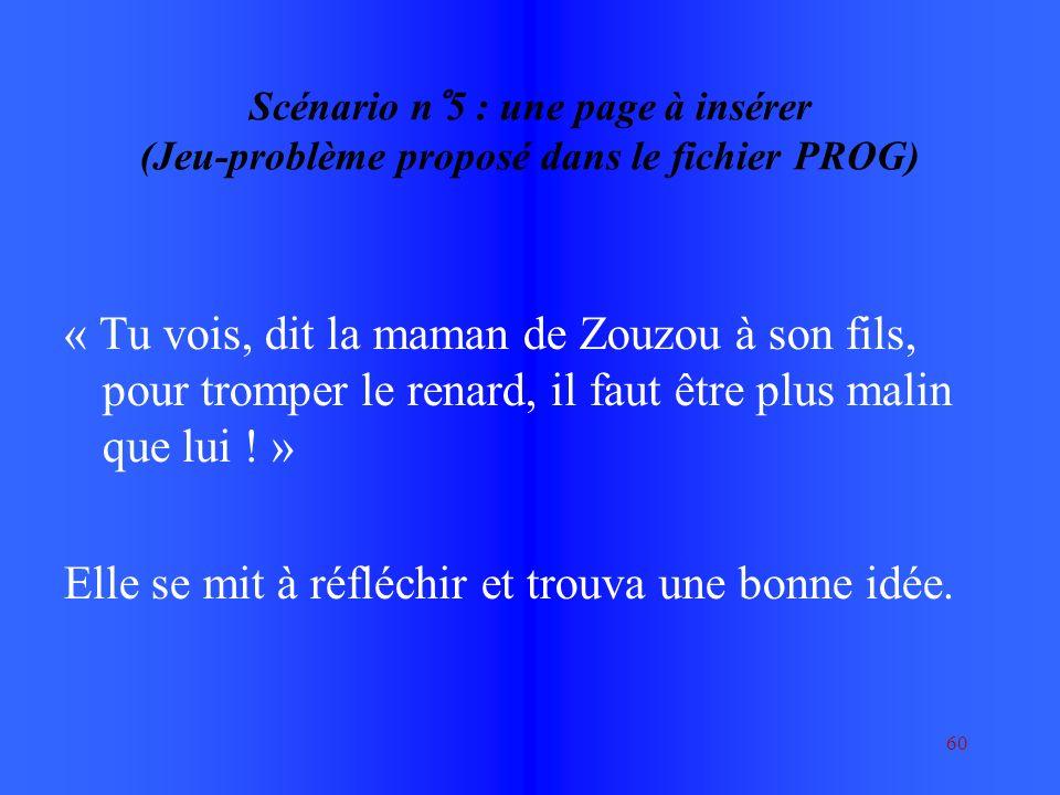 60 Scénario n°5 : une page à insérer (Jeu-problème proposé dans le fichier PROG) « Tu vois, dit la maman de Zouzou à son fils, pour tromper le renard, il faut être plus malin que lui .