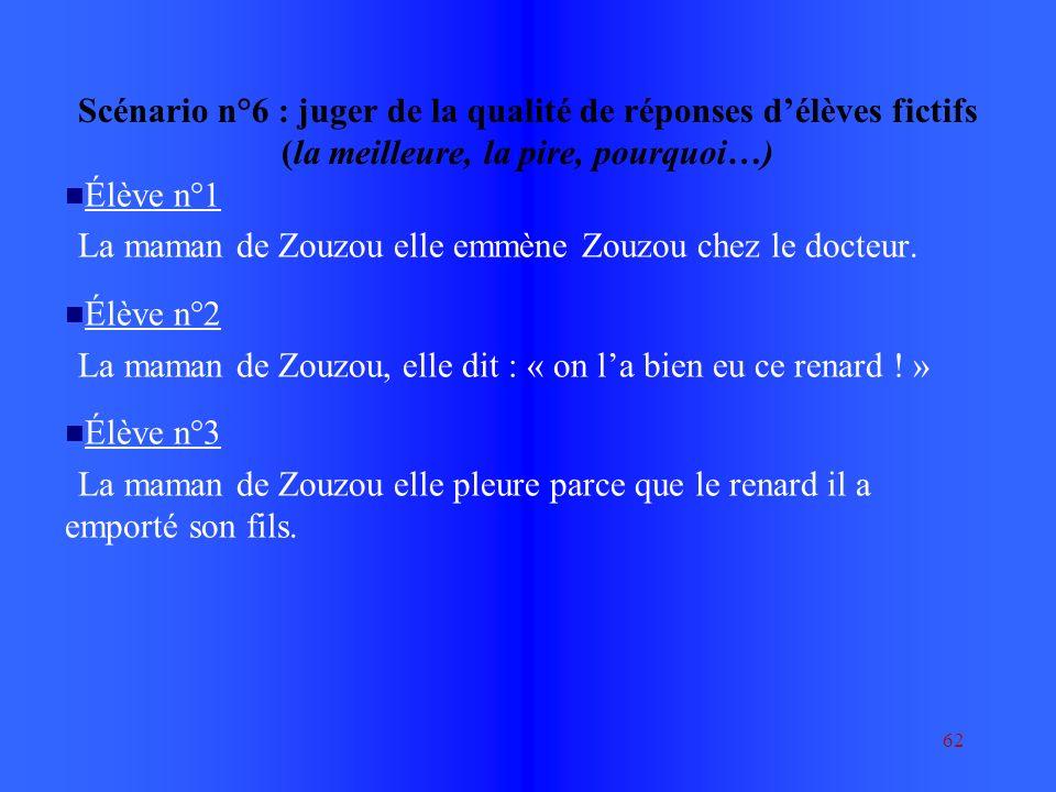62 Scénario n°6 : juger de la qualité de réponses délèves fictifs (la meilleure, la pire, pourquoi…) Élève n°1 La maman de Zouzou elle emmène Zouzou chez le docteur.