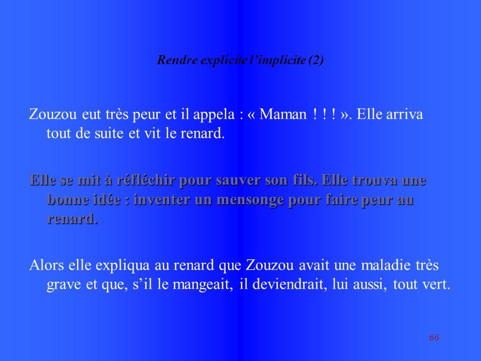 66 Rendre explicite limplicite (2) Zouzou eut très peur et il appela : « Maman .